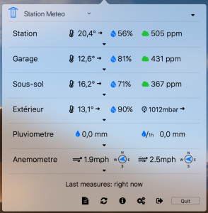 HomeAtmo dashboard in synthetic mode